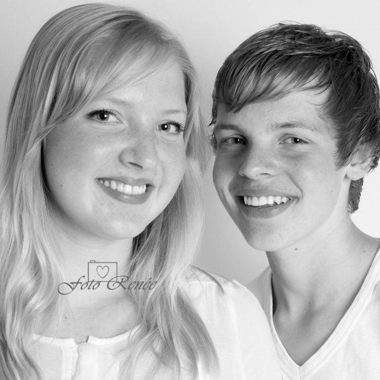 Portretfotografie samen in zwart wit 1