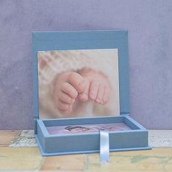 Handgemaakte fotobox met 1cm dikke houten rand